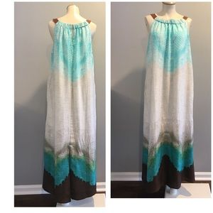 CHICOS GORGEOUS BLUE MAXI DRESS WITH POCKET